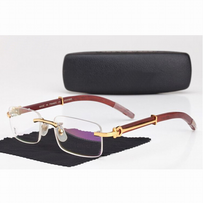 Carter Men Rimless Glasses Wooden Carved Eyeglasses Brand ...