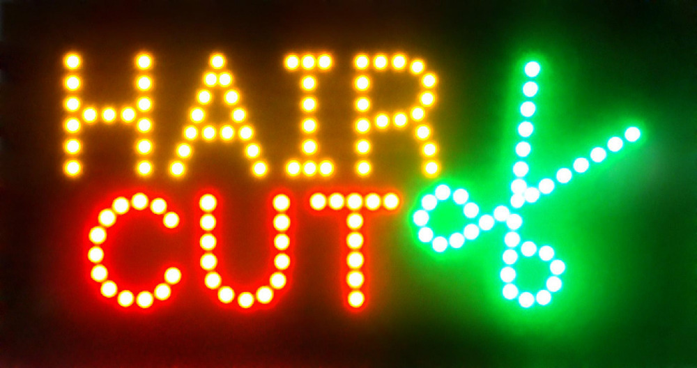 New Arriving Ultra Bright flashing hair cut led sign billboard led barber neon light sign 10*19 inch(China (Mainland))