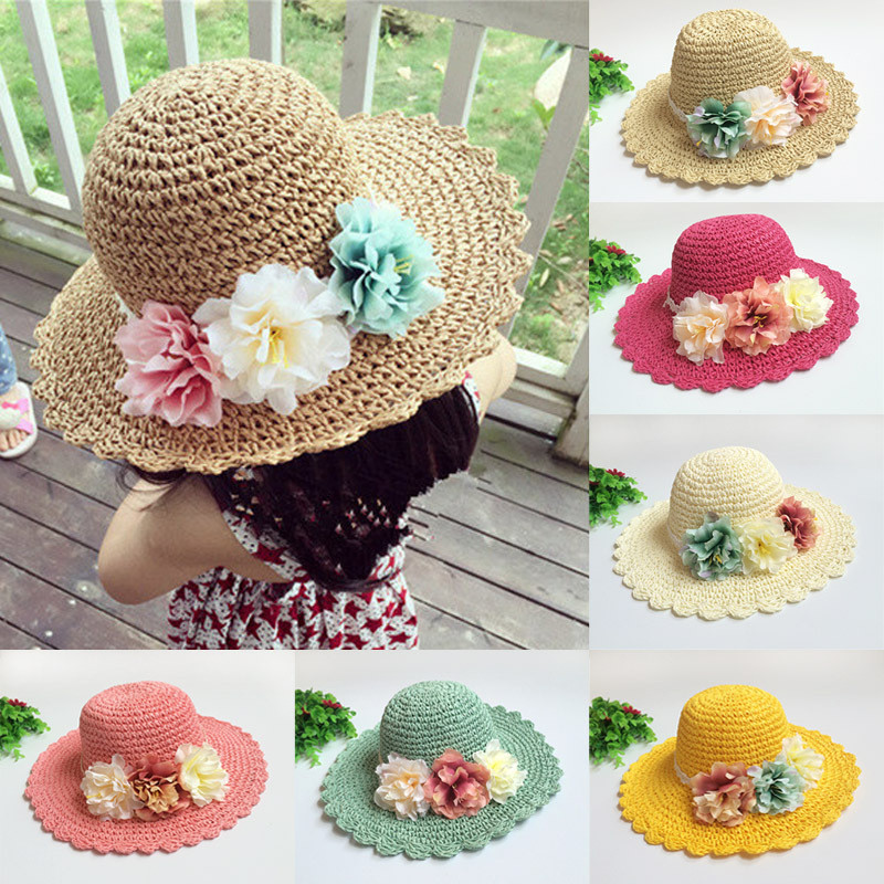 Baby Sun Hat Flower Beach Cap Baby Girls Straw Hats Large Brimmed Hat Infant Toddler Topee for Holiday Kids Photography Props()