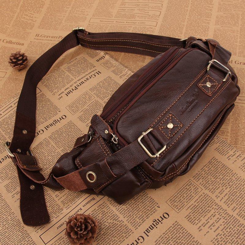 2014 hot men multi-functional waist bag Leather shoulder bags Vintage messenger bag Crossbody bolsas fanny pack free shipping<br><br>Aliexpress