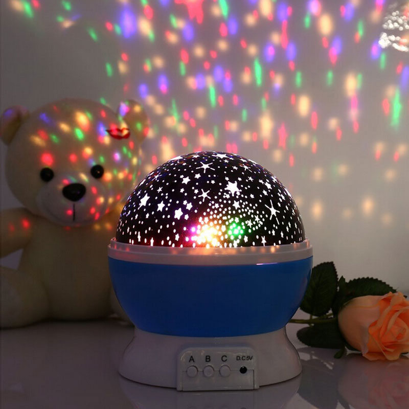 Starry Projector LED Lamp Rotatable Romantic Flashing Star Moon Sky Projector Night Lighting for Kids Children Baby Room 883331(China (Mainland))