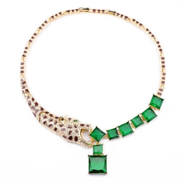 Woman Decoration Short Leopard Head Green Box Geometry Chain Sweater Jewelry Necklace Design Inspiration Brand 2015(China (Mainland))