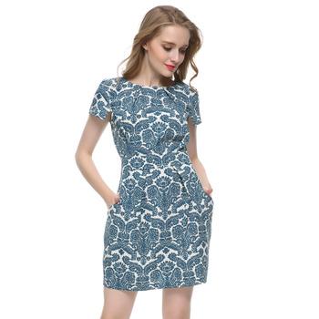 Women Green Royal print Dress Vestido Feminino De Festa vintage short sleeve casual slim brand dress plus size QZ1923