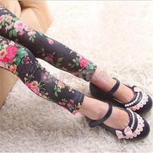 New 2014 Stylish Flower Print Kids Stretch Leggings Practical Children s Clothing Lovely Girls Leggings
