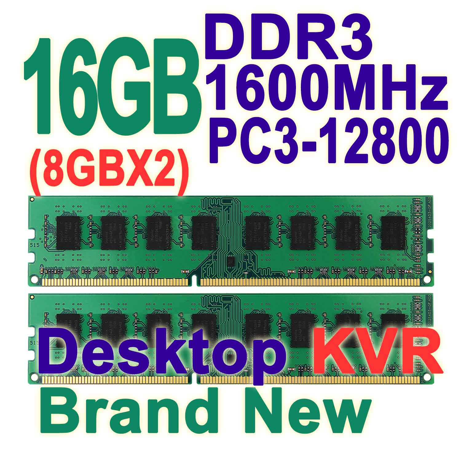 16GB Kit ( 8GB X2) Dual Channel DDR3 1600MHz 240-pin DIMM PC3-12800 Non-ECC CL11 Computer Desktop Memory RAM For Intel &amp; AMD KVR<br><br>Aliexpress