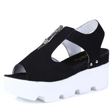 Летние 2017 новые кожаные сандалии и тапочки женщин сандалии платформы клинья туфли на платформе с комфортом в Корее(China (Mainland))