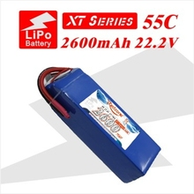 2pcs redzone rc lipo battery 55C 2600mAh 22.2V 6s for rc helicopter fixed-wing aircraft quadcopter