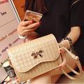 vintage knitting women shoulder bag fashion zipper sling bag bow pattern crossbody bag message bag with