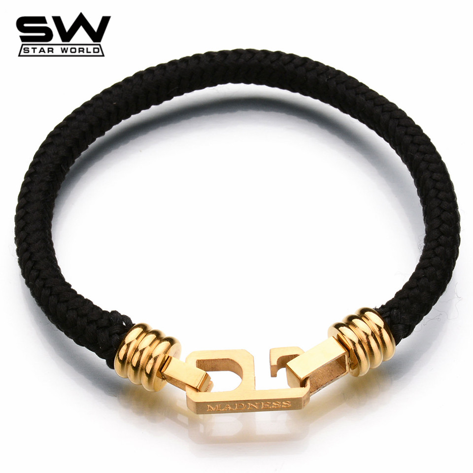 STARWORLD New Fashion Fine Jewelry Men ID Bracelets Nylon Rope Stainless Steel Bracelets Vintage Bangles Male Accessories(China (Mainland))