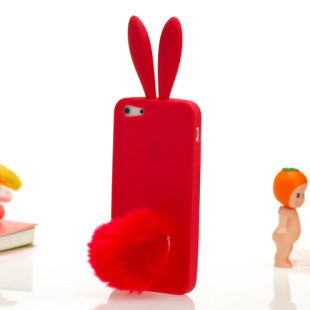 Free shipping 100pcs/lot Cute Soft durable rabbit tail rabito silicone rabbit ear case for iphone5