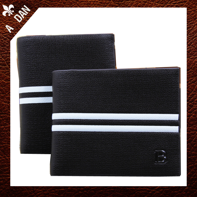 Standard Wallets for men 2014 casual brand VintagePU Leather black white Stripe Classical mens Purse Card Holder carteira BSOG0<br><br>Aliexpress