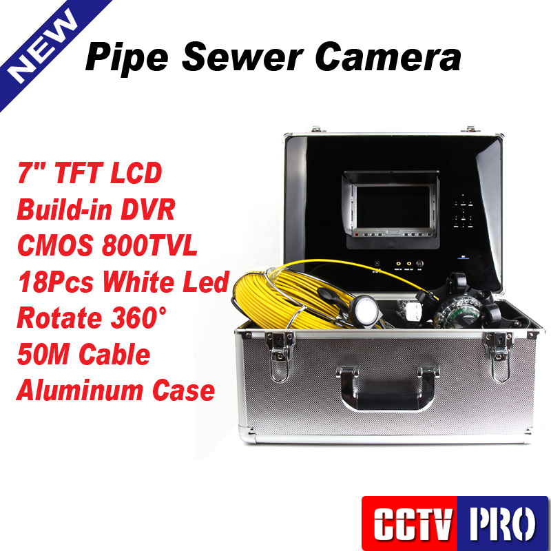 "50M Waterproof Sewer Camera Pipe Pipeline Inspection Camera Night vision SD 4GB Record 7"" LCD DVR System Rotate 360 Degree(China (Mainland))"