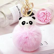 Bonito Bola de Pele de Coelho Do Falso Fofo Panda Bugiganga Chave Anel Keychain Mulheres Bonito Pom Pom Pele Pompom Saco Encantos Chave titular EH862(China)