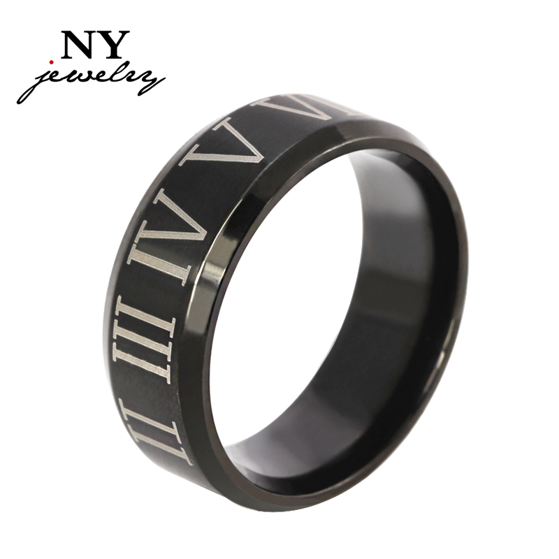 Roman numerals black ring stainless steel cool men ring cocktail wedding jewelry wholesale