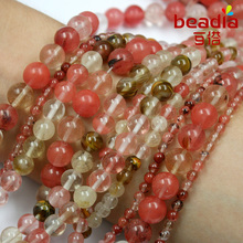 Buy Free Shipping 4m 6mm 8mm 10mm Natural Faceted Round Semi-precious Stone Watermelon Skin beads for fashion bracelet Jewelry for $2.39 in AliExpress store