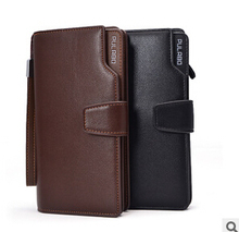 Man s wallet long leather zipper quality large capacity of more than 2015 screen products business