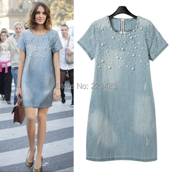 2015 new fashion women o-neck Washed Loose denim dress plus size Jeans Evening Party Lady Dresse Casual Washed Beaded 3X 4XL 5XL(China (Mainland))