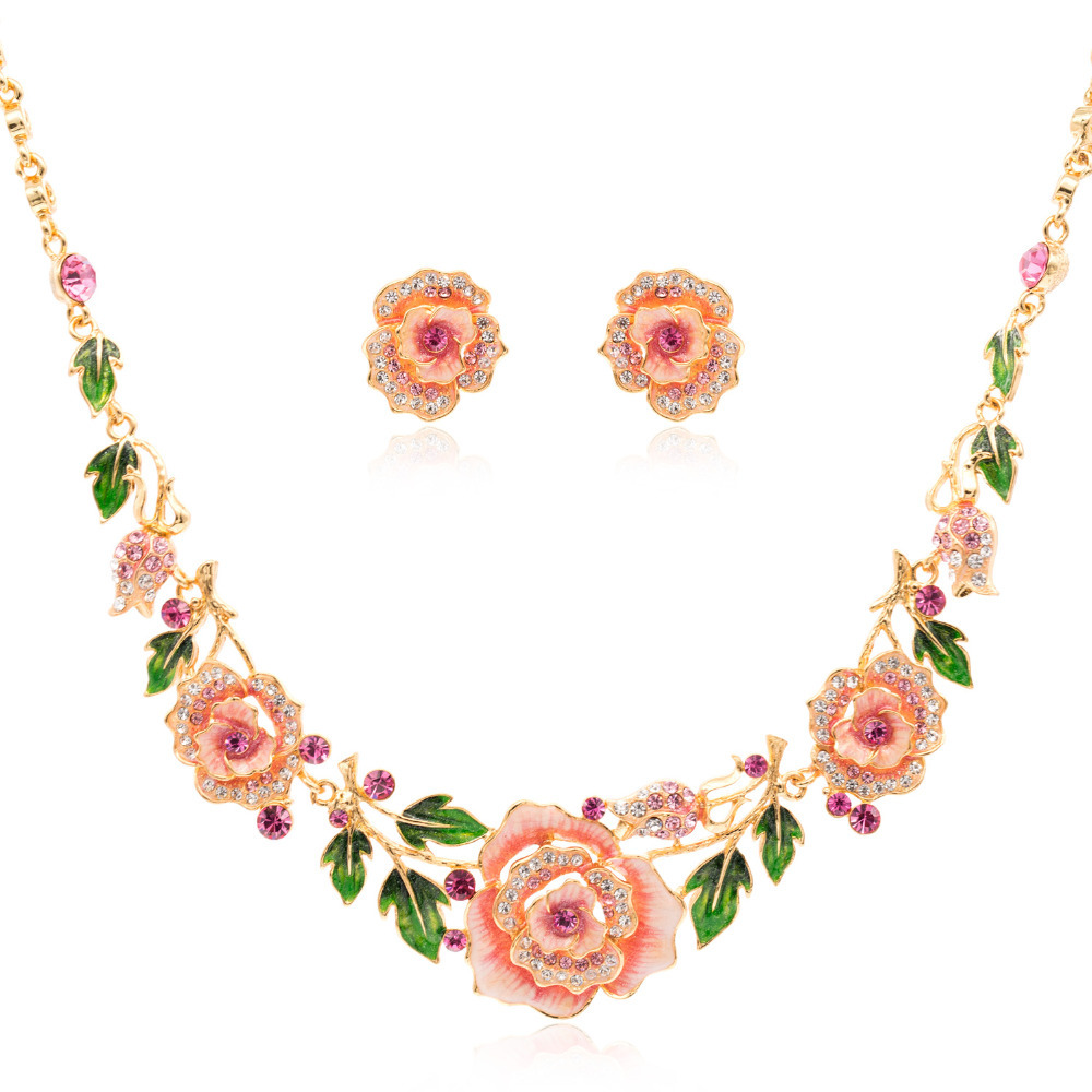 Designer Brand Cute Pink Enamel Jewelry Sets for Bridal ...