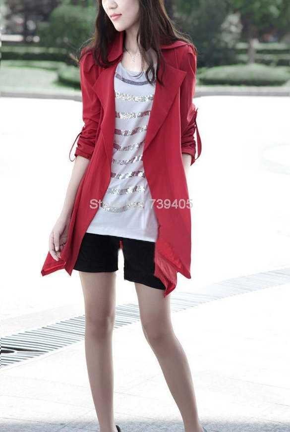 Весна осень новый тонкий траншею для женщин Европейский стиль мода Женская плюс размер тонкий тонкий жилет пальто