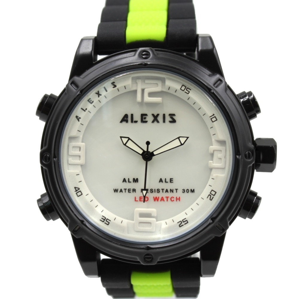 ALEXIS BRAND Men Watches Gifts Box Alarm BackLight Water Resist Silicone Black with Green tone Band Analog Digital Watch AW802J(China (Mainland))