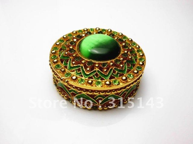 Wholesale(80pcs Pack)-2012 new flower & Round gold plated sharp pewter Alloy metal jewelry box