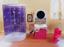 Purple Bathroom Washroom / hand washing sink / Closestool Sets Dollhouse Furniture Accessories for Barbie Kurhn Kelly Ken Doll
