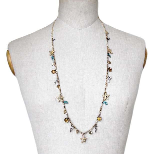 2014 National Style Unique Design Chain Starfish pandent Choker Necklaces Fashion Jewelry NRSJN059(China (Mainland))