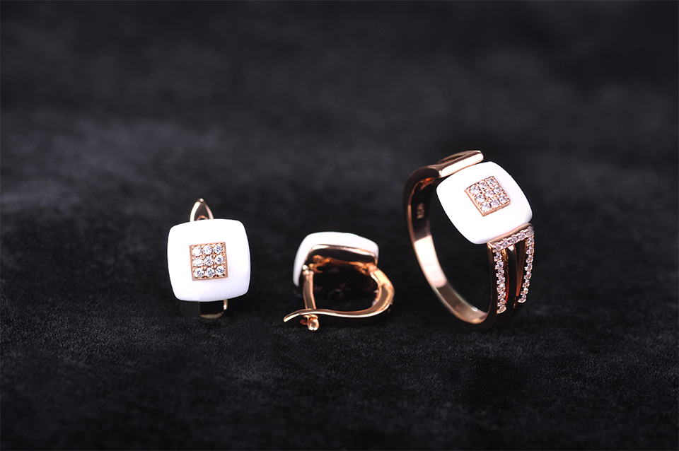 White Ceramics Jewelry Sets Earrings Rings AAA Zircon Rhinestone Aretes Rose Gold Square Anillos Blucome Porcelain Accessories