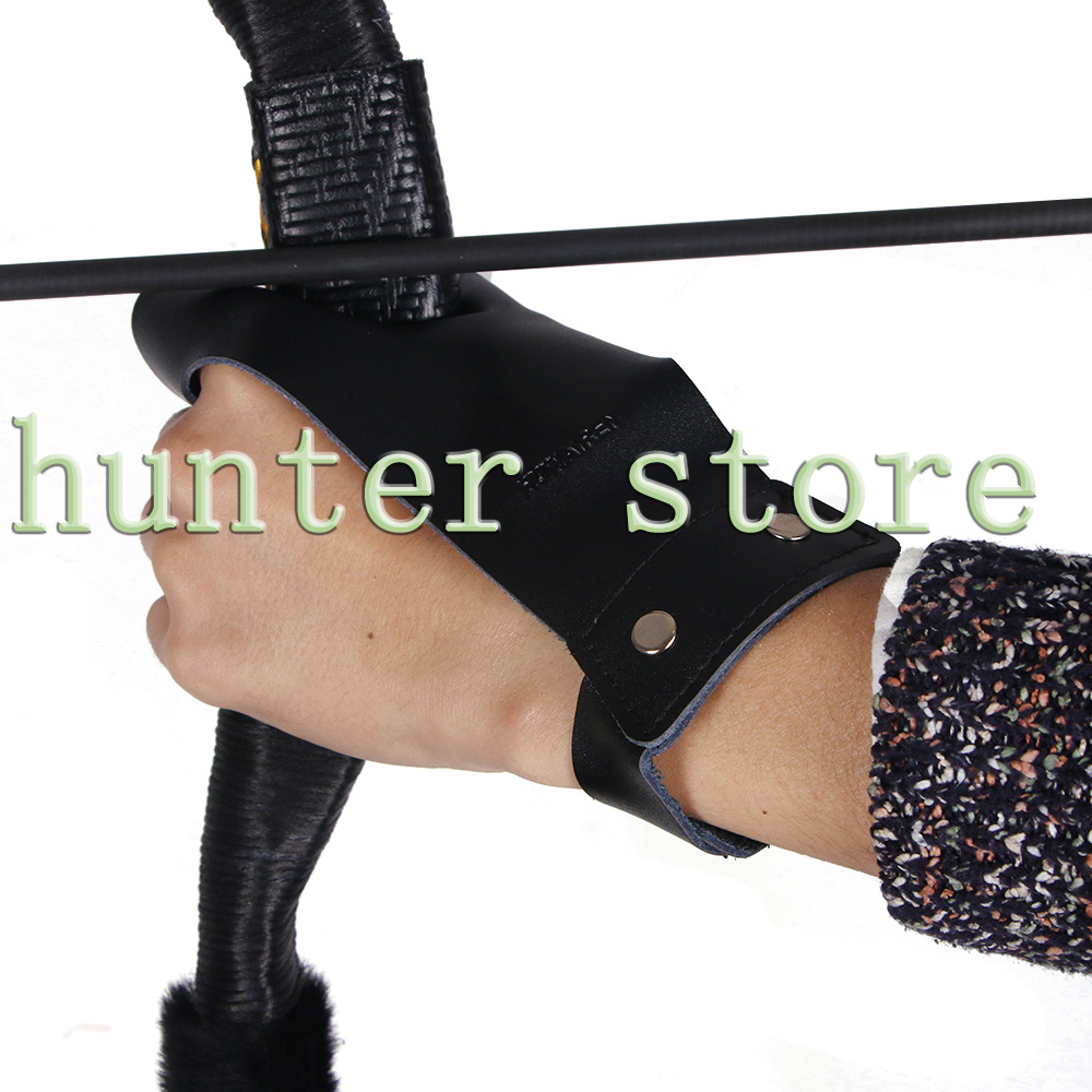 Archery Finger Leather Glove Outdoor Hunting Shooting Bows and Arrows Accessories Black Finger Protector Protection Left