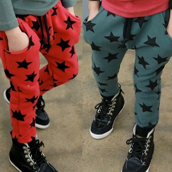 low price Toddler Boys Casual Long Pants Stars Pattern Cotton Bottoms Trousers Free Shipping(China (Mainland))