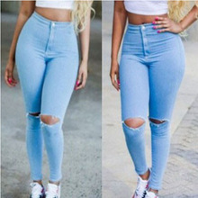 New 2016 Hight Waist Elastic Hole Ripped Designer Plus Size Women Jeans Woman Casual Skinny Jeans Denim Pencil Pants Trousers