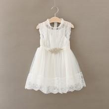 white princess Baby Girl Dress with Crystal belt vintage girl print lace Dresses for 2-7