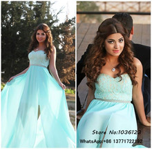 Vestidos de fiesta Floor Length Peach Chiffon Split Lovely Long Elegant Prom Dresses 2015 Plus Size