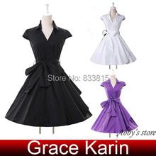 Cheap Plus Size Cap Sleeve Black/White/Purple Short 50s 60s vestido Women Summer Vintage Retro Rockabilly Swing Dresses 2015 (China (Mainland))