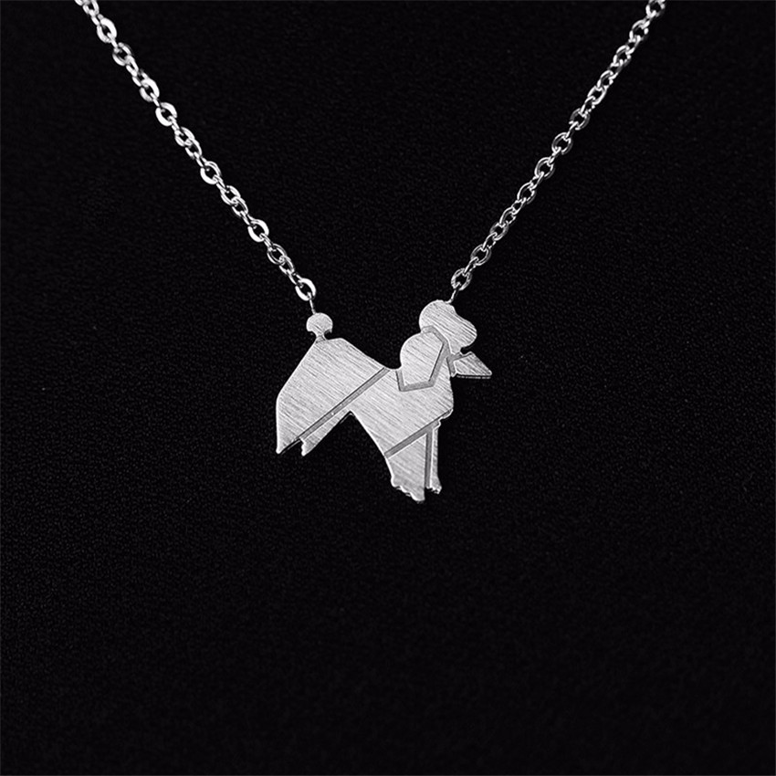 Tattoo Origami Poodle Dog Shaped Lover Memorial Pet Necklaces Animal Pet Charm Jewelry Stainless Steel Pitbull Puppy Necklace