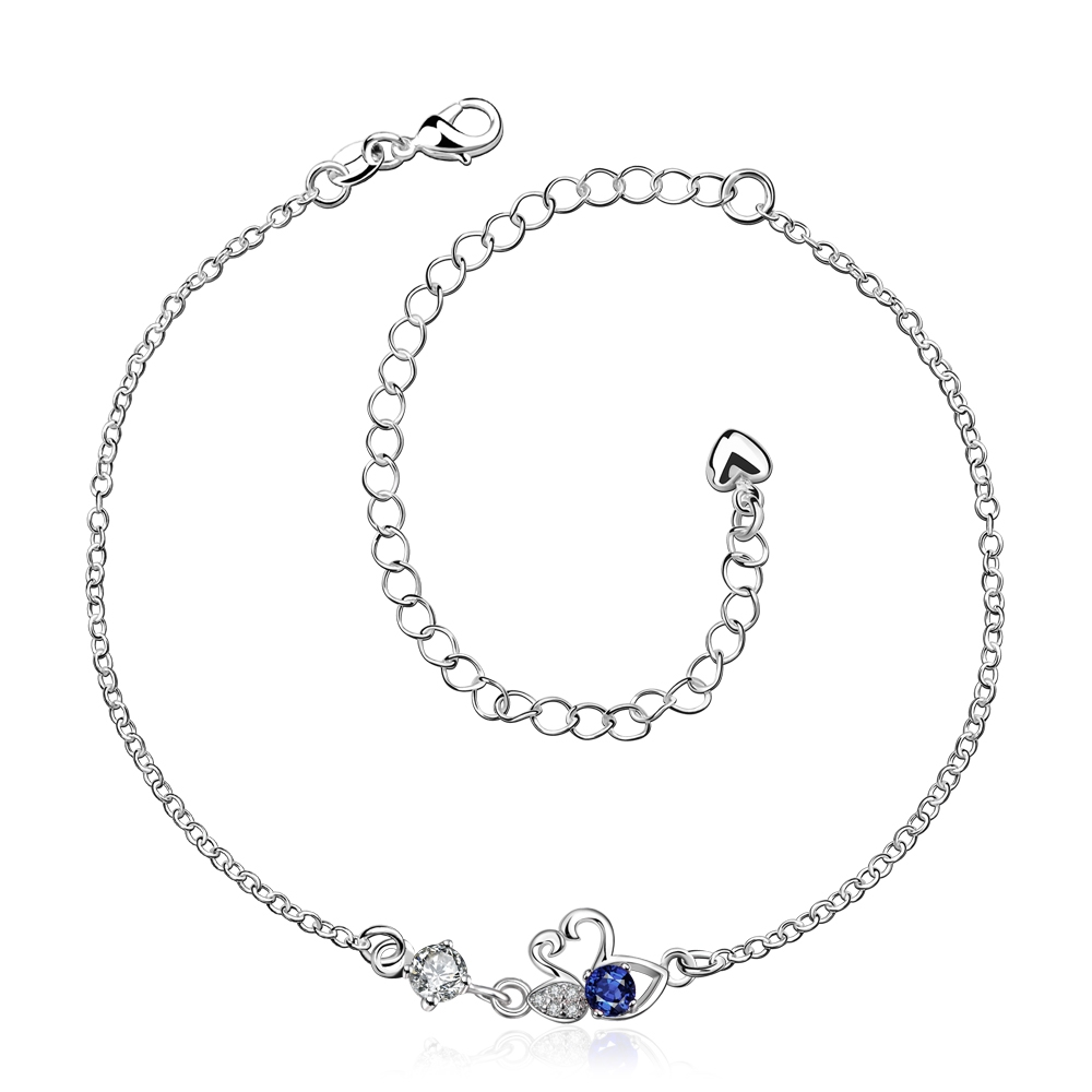 Free Shipping High Quality 925 stamped Silver Plated Foot Jewelry Hot Swan lady Anklet Fashion white leg bracelet Personalized(China (Mainland))