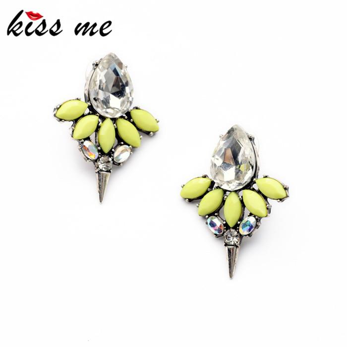 Shijie 2014 Statement Trendy Jewelry Elegant Yellow Resin Rivet Stud Earrings Factory Wholesale<br><br>Aliexpress