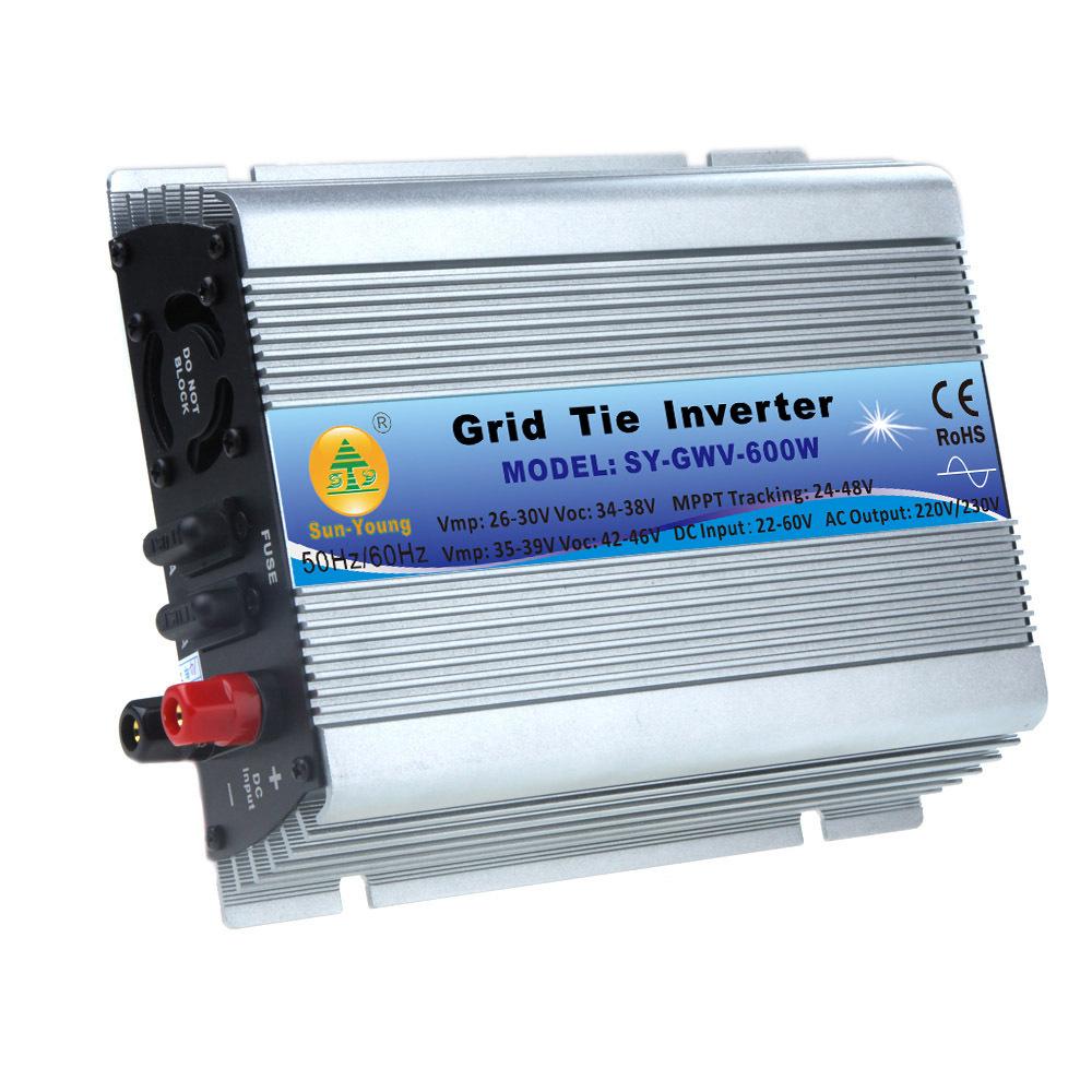 600W Watt Micro Grid Tie Inverter Accept DC 22-60V AC 230V Solar Power Pure Sine Wave EU Converters(China (Mainland))
