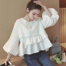 Women Tops and Blouses New Fashion 2016 Korean Style Ladies Lantern Sleeve Cute Ruffle Blouse