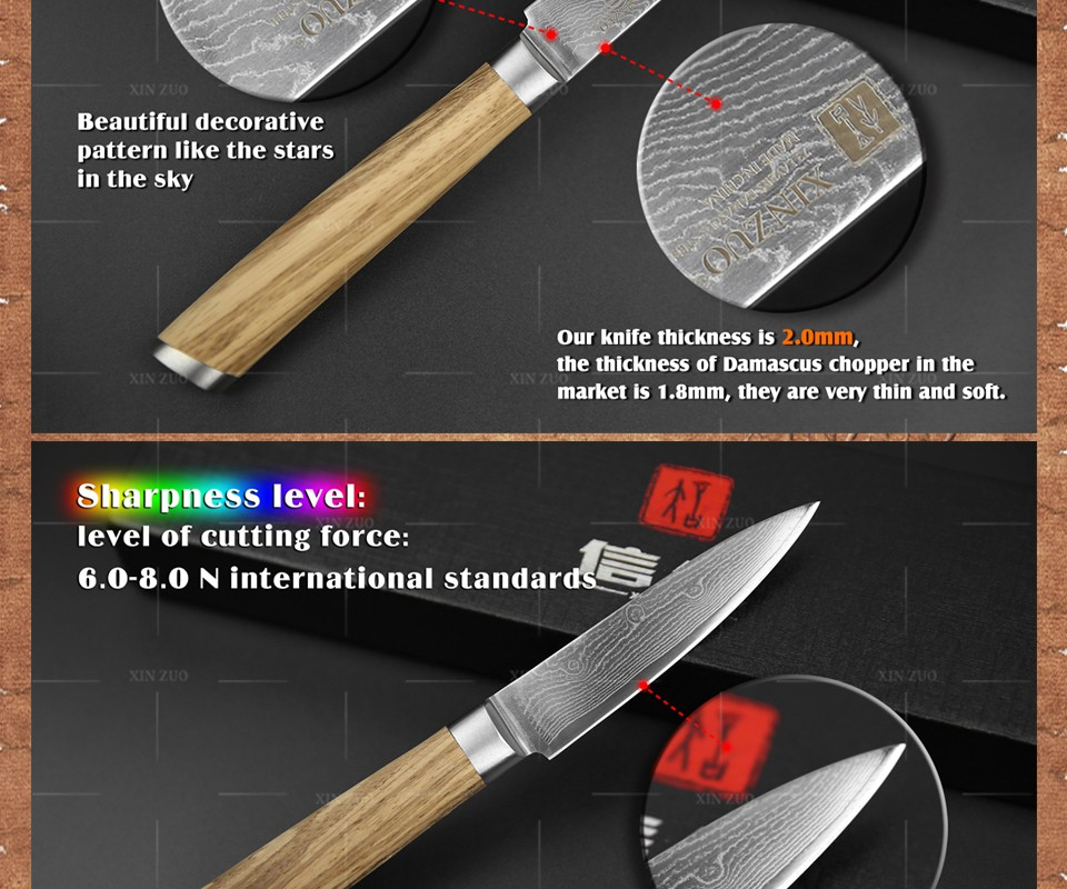 "Buy XINZUO 3.5"" inch fruit knife Damascus kitchen knives paring knife senior  kitchen too damascus steel  parer knife FREE SHIPPING cheap"