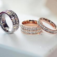 Titanium кристалл кольцо женской моды обручальные кольца 2 цвета розовый и серебряные ювелирные изделия лето женский обручальное(China (Mainland))