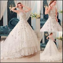 Swarovski Crystal Luxury Modest Wedding Dress 2016 Most Popular Sparkly Bridal Gowns Vintage Custom Made(China (Mainland))