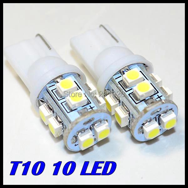 Free Shipping + Wholesale + Car Led Light+ 10pcs/lot + T10 10smd W5W 168 194 t10 10led 1210 3528 SMD LED Bulb Lamp White Color