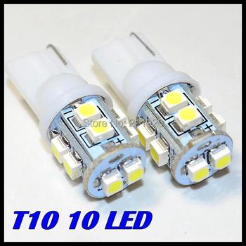 Free Shipping + Wholesale + Car Led Light+ 10pcs/lot + T10 W5W 168 194 10led 1210 3528 SMD LED Bulb Lamp White Color