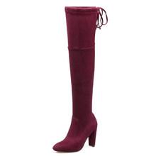 DoraTasia Thương hiệu mới của phụ nữ giày nữ giày lớn Size 33-46 thu đông quá đầu gối Giày cao gót gợi cảm Đảng Giày n(China)