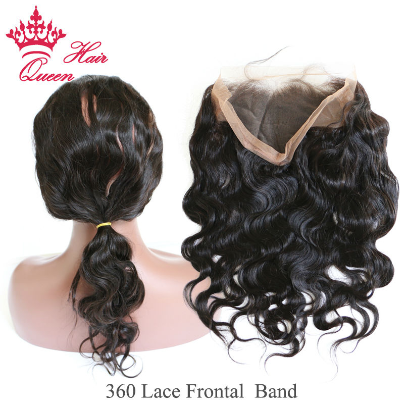 Queen Hair 360 Lace Frontal Brazilian Virgin Human Hair Body Wave With Baby Hair Lace Band Frontal Closure Styles DHL Free