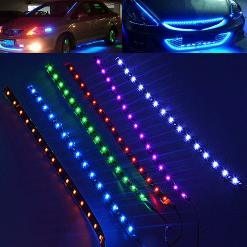Waterproof 30cm SMD 3528 15 LED Flexible Car Strip Light Bulb DC 12V Underbody Red / Blue / Purple / Green / White / yellow(China (Mainland))