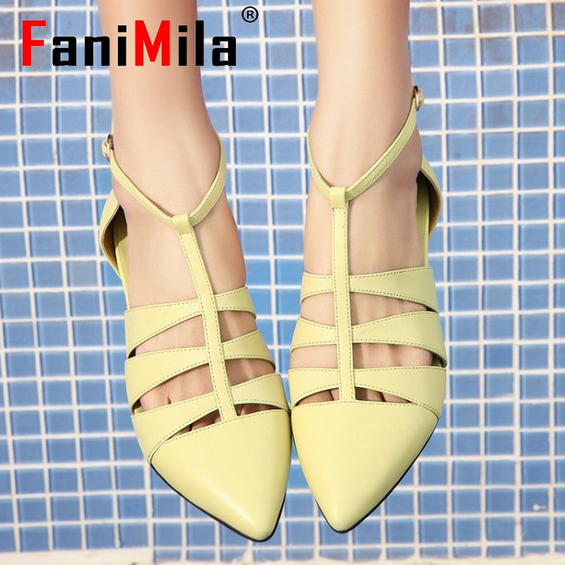 size 34-42 women real genuine leather ankle strap leisure flat sandals brand sexy fashion female footwear ladies shoes R08368<br><br>Aliexpress