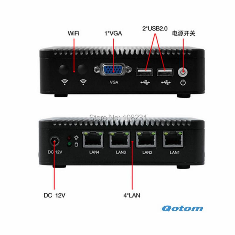 Quad core mini PC Q190G4 With 4GB RAM and 4 LAN port, VGA mini pc support 1* mSATA SSD and 1* 2.5 inch SATA SSD/HDD(China (Mainland))
