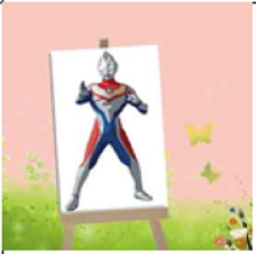 Cartoon ultraman wear red and blue clothing DIY Digital Oil Painting By Numbers Pictures Printed On Canvas 4*3.75 inch (Framed)(China (Mainland))